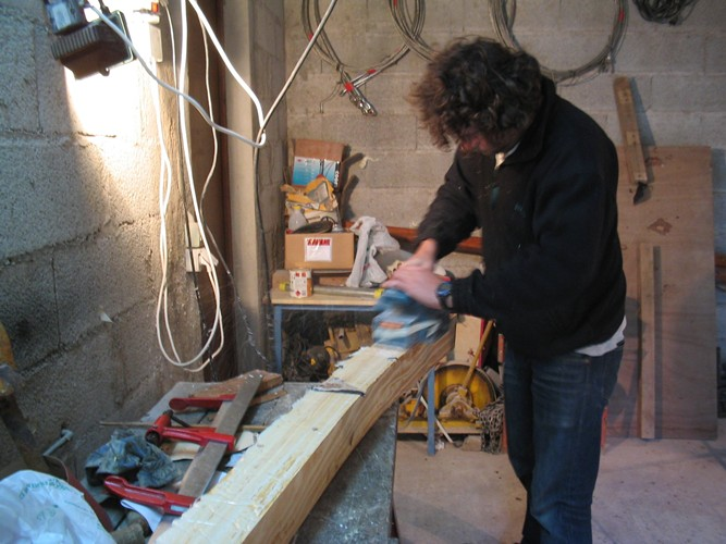 planing the new Flicka bowsprit to rough shape