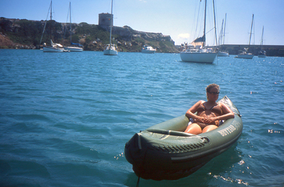 The crocodile: a great affordable inflatable kayak from Sevylor. In Mahon harbour, Minorca
