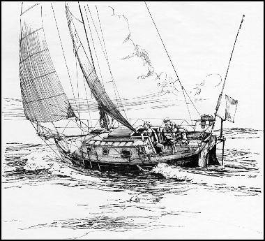 Flicka under sail by Bruce P Bingham from Sailors Sketchbook