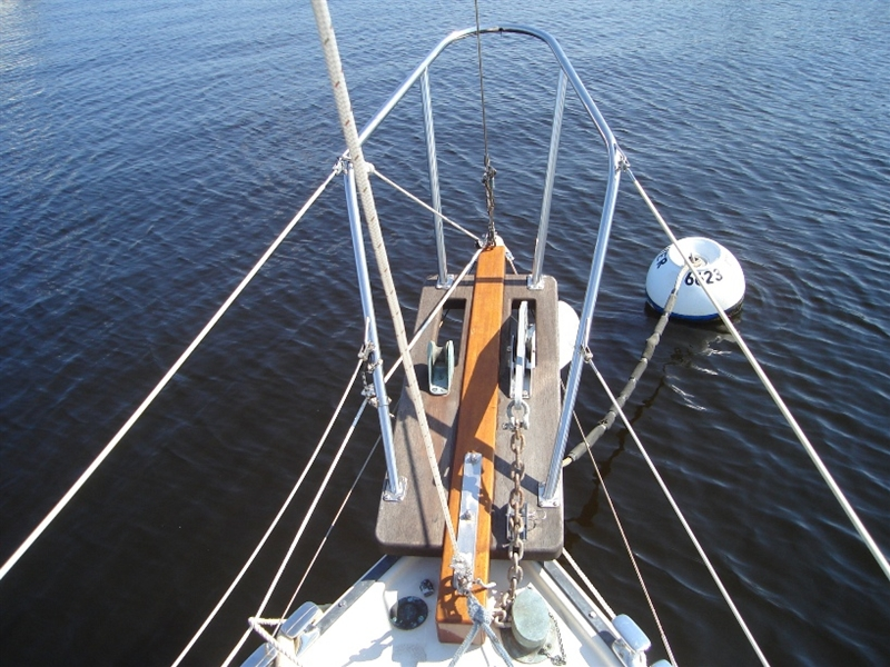 New solid mahogany bowsprit with new solid teak anchor platform.