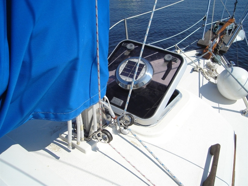 New lewmar ocean hatch with solar powered vent forward.